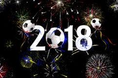 Globos 2018 del balón de fútbol del Año Nuevo Foto de archivo libre de regalías