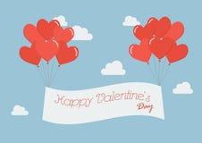 Globos del corazón con la bandera feliz del día de tarjeta del día de San Valentín Foto de archivo libre de regalías