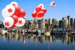 Globos del día de Canadá en Vancouver Fotografía de archivo