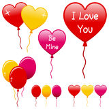 Globos del día de tarjetas del día de San Valentín fijados Imagenes de archivo