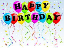 Globos del feliz cumpleaños Foto de archivo libre de regalías