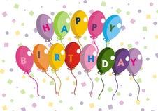 Globos del feliz cumpleaños Fotos de archivo libres de regalías