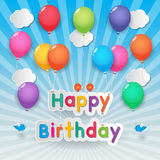 Globos del feliz cumpleaños Imágenes de archivo libres de regalías