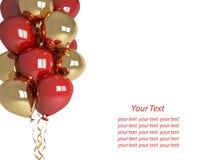 Globos del feliz cumpleaños aislados en el saludo blanco Imagen de archivo