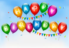 Globos del feliz cumpleaños. Fondo del día de fiesta. Imagen de archivo