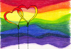 Globos del fondo del arco iris foto de archivo
