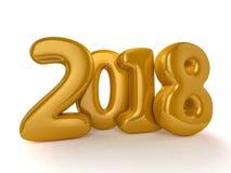 Globos del juguete en el fondo blanco Feliz Año Nuevo 2018 Imágenes de archivo libres de regalías