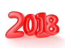 Globos del juguete en el fondo blanco Feliz Año Nuevo 2018 Imagen de archivo