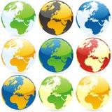 Globos del mundo del vector Imagen de archivo libre de regalías