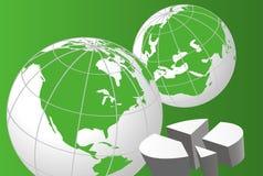 Globos del mundo y gráfico de sectores Fotos de archivo libres de regalías