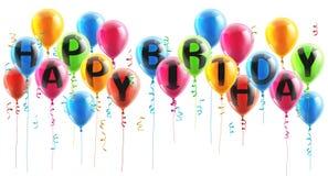 Globos del partido del feliz cumpleaños Fotos de archivo libres de regalías
