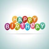 Globos del texto del feliz cumpleaños Imagenes de archivo