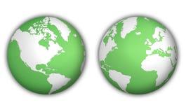 Globos do mundo com sombra ilustração stock