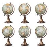 Globos do mundo do estilo antigo Fotografia de Stock Royalty Free