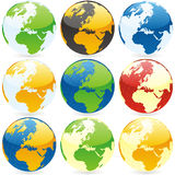 Globos do mundo do vetor Imagem de Stock Royalty Free
