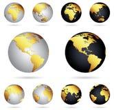 Globos do ouro da terra do planeta Imagens de Stock