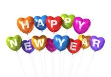 Globos en forma de corazón coloreados de la Feliz Año Nuevo Imagen de archivo