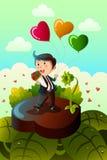 Globos en forma de corazón que llevan del hombre y rosas rojas Imagenes de archivo