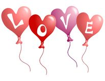 Globos en forma de corazón del amor del día de tarjeta del día de San Valentín Fotos de archivo libres de regalías