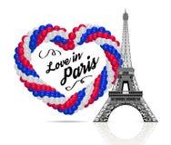 Globos en la forma de un corazón en los colores de la bandera de Francia ilustración del vector