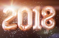 Globos felices 2018 del Año Nuevo del oro Fotos de archivo