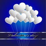 Globos felices del día del ` s de la tarjeta del día de San Valentín stock de ilustración