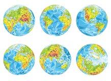 Globos geográficos de la tierra en diversas posiciones Fotografía de archivo