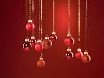 Globos glittery vermelhos do Natal Fotos de Stock Royalty Free