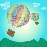 Globos infantiles del aire caliente del dibujo imagenes de archivo