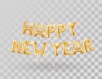 Globos metálicos del oro de la Feliz Año Nuevo Imágenes de archivo libres de regalías