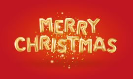 Globos metálicos del oro de la Feliz Navidad Imagen de archivo libre de regalías