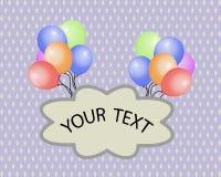 Globos multicolores del día de fiesta, con un cartel de su texto en un fondo púrpura Ilustración del vector stock de ilustración