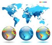 Globos no mapa detalhado azul Foto de Stock Royalty Free
