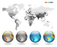 Globos no mapa detalhado cinzento Imagem de Stock