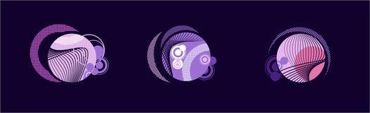 Globos púrpuras con las líneas blancas Foto de archivo libre de regalías