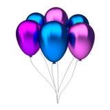 Globos púrpuras y azules del cumpleaños Imagen de archivo libre de regalías