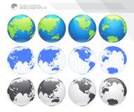 Globos que mostram a terra com todos os continentes Vetor do globo do mundo de Digitas Vetor pontilhado do mapa do mundo Fotografia de Stock Royalty Free