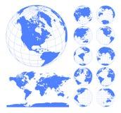 Globos que mostram a terra com todos os continentes Vetor do globo do mundo de Digitas Vetor pontilhado do mapa do mundo ilustração stock