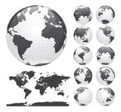 Globos que muestran la tierra con todos los continentes Vector del globo del mundo de Digitaces Vector punteado del mapa del mund ilustración del vector