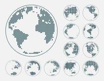 Globos que muestran la tierra con todos los continentes Vector punteado del globo del mundo ilustración del vector