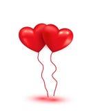 Globos rojos brillantes del corazón Imagen de archivo