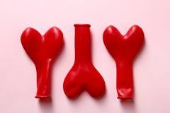 Globos rojos del corazón Imagen de archivo libre de regalías