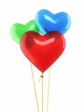 Globos rojos del corazón del verde azul Imagen de archivo