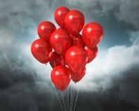 Globos rojos en un cielo dramático nublado ilustración del vector