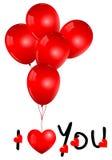 Globos rojos hermosos con te amo Imagen de archivo libre de regalías
