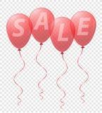 Globos rojos transparentes con el vector de la venta de la inscripción Fotos de archivo libres de regalías