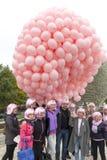 Globos rosados contra cáncer de pecho Imagen de archivo libre de regalías