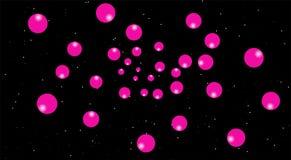 Globos rosados en las escenas de la noche, fondo negro luna rosada en cielo ilustración del vector