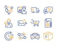 Globos, servicio 24h y sistema de los iconos del contador de tiempo Documentación, carro de la compra y muestras de la entrega 24 stock de ilustración
