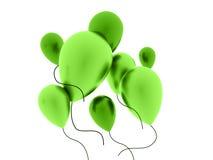 Globos verdes rendidos en blanco Fotos de archivo